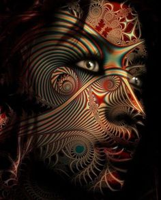 Creative minds meld illustrative photography {female woman portrait face}