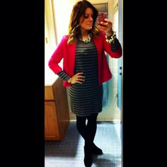 Stripes+ pink blazer