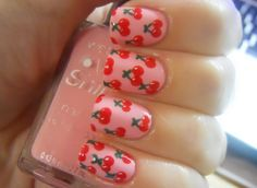 Cherry nails, pink and red nail art Cute Nail Art, Nail Art Diy, Diy Nails, Beautiful Nail Designs, Cute Nail Designs, Cherry Nail Art, Fruit Nail Designs, Rose Nails, Nail Polish Art