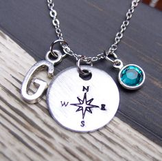 december birthstone necklace, compass necklace, initial necklace, graduation gift, graduate gift, Swarovski Drop, blue zircon necklace