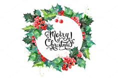Watercolor Christmas Set by Elena Pimonova on Creative Market