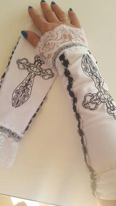 Gothic Handschuhe in Weiß mit Stickerei