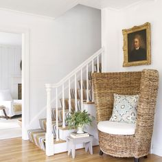 How smart is this? To create the look of planked walls without the hassle or expense, Ingrid drew horizontal lines with pencil in the stairwell.   - CountryLiving.com