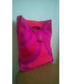 af0d4345fc6 Tas gemaakt van retro wollen dekens in mooie seventies print (paars/ rood/  fuchsia