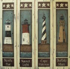 set of 4 LIGHTHOUSE Folk Art Vintage-Inspired Prints by Donna Atkins. $38,00, via Etsy.