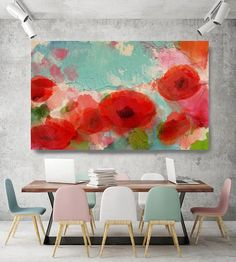 Fresh Air Poppies. Floral Painting Blue Red Abstract Art
