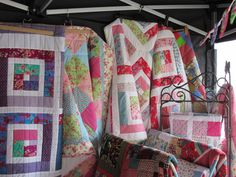 Adaliza's Patchwork Quilts on display at a fair Workshop, Display, Quilts, Blanket, Scrappy Quilts, Floor Space, Atelier, Billboard, Work Shop Garage