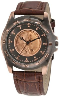 August Steiner Men's CN001C-AS Round Wheat Penny Antique Copper Collectors Coin Watch:Amazon:Watches