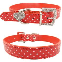 Pets Dog Collar Polka Dot Pattern Dog Accessories For Small Dog Collars And Leashes For Animals Heart Crystal Pendant Mascotas // Worldwide FREE Shipping //     #dogsupplies