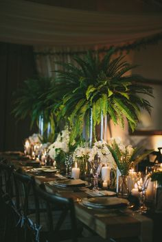 This Black Tie Santa Barbara Wedding is Far From Stuffy This Santa Barbara wedding features fun tropical décor, a gorgeous outdoor ceremony, and perfectly elegant reception details. Fern Wedding, Wedding Table, Floral Wedding, Wedding Flowers, Wedding Ceremony, Trendy Wedding, Spring Wedding, Exotic Wedding, Wedding Greenery