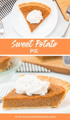 This Sweet Potato Pie recipe is the best. It goes great with any holiday meal, from roast turkey at Thanksgiving to baked ham at Easter. Easy Summer Desserts, Easy No Bake Desserts, Pie Recipes, Dessert Recipes, Appetizer Recipes, Easy Recipes, Family Fresh Meals, Trifle Pudding, Homemade Snickers