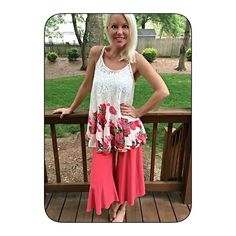 Lace Tunic with floral hemline! Gorgeous lace top with flowy asymmetrical floral hemline in stunning color!  Follow me on Instagram @kfab333 for more items Tops Tank Tops
