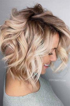 25 blonde balayage short hair looks you'll love beauty - hai Messy Bob Hairstyles, Long Face Hairstyles, Chic Hairstyles, Hairstyle Ideas, Hair Ideas, Blonde Hairstyles, Makeup Hairstyle, Wavy Bob Haircuts, Amazing Hairstyles