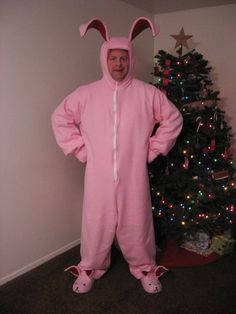 """A Christmas Story"" bunny costume tutorial.  I will never make it, but the whole thought of it made me laugh.  There is a video clip of the scene from the movie on the tutorial site.  Very funny!"