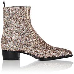 Saint Laurent Glitter-Covered Wyatt Boots (€890) ❤ liked on Polyvore featuring…