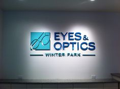 Doesn't this lobby sign look fantastic? We used painted foam lettering with an acrylic face to create this look for Eyes & Optics in Winter Park. http://eyesoptics.com/