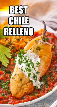 This authentic chile relleno recipe is a traditional Mexican dish of flavorful chiles stuffed with cheese, battered and fried, then smothered in a homemade sauce. dinner recipes The Best Chile Relleno Recipe Mexican Appetizers, Mexican Breakfast Recipes, Mexican Food Recipes, Mexican Desserts, Mexican Food Dishes, Mexican Dinners, Thai Recipes, Drink Recipes, Asian Recipes