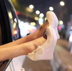 Bridal White Wedge Shoes <3