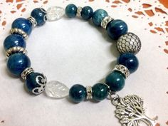 Apatite beads bracelet with crystal leaves and tree pendant