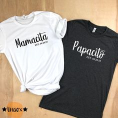 Price is per shirt. This updated unisex featuring a crew neck, short sleeves and designed with superior combed and ring-spun cotton. Bride And Groom Tshirts, Groom Shirts, Mrs Shirt, Wedding Day Shirts, Honeymoon Outfits, Couple Outfits, Dad To Be Shirts, Personalized T Shirts, Matching Outfits