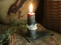 Primitive Early Look Aged Tin Book Light Candle Holder