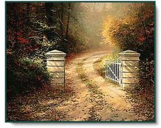 Autumn Gate - 1991 A gate is an invitation to explore! I spotted this gate while driving through a tiny Cotswold village, having just painted McKennas Cottage. I knew at once I must record the gate in paint, yet since daylight was escaping, I quickly snapped a few reference photos and vowed to recreate the gate in my studio. -- Thomas Kinkade
