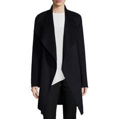 Joseph Double-Face Long Wrap Coat ($1,035) ❤ liked on Polyvore featuring outerwear, coats, black, wrap coat, long coat, shawl collar wrap coat, black coat and josephs coat