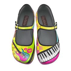 Hot Chocolate Design Womens New Wave Mary Jane Flat Multicoloured. #fashion #music #shoes #style #musicfashion http://www.pinterest.com/TheHitman14/hey-ladies-musical-fashion/