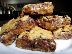 Choc Chip Cookie and Caramel-Peanut Butter Bars  http://thebitesizedbaker.com/2011/09/07/chocolate-chip-cookie-and-caramel-peanut-butter-bars/