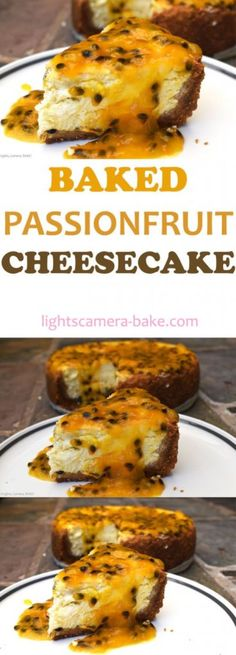 Baked Passionfruit Cheesecake is a soft and creamy baked cheesecake with fresh passionfruit swirled throughout and topped with more passionfruit! Sweet, creamy, refreshing and so easy to make. Your perfect summer dessert is this Baked Passionfruit Cheesecake! Brownie Desserts, Oreo Dessert, Mini Desserts, Summer Desserts, Baking Desserts, Baking Recipes, Passionfruit Recipes, Cheesecake Recipes, Recipes