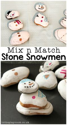 """Snowman activities: Mix n match stone snowmen winter craft and """"build one"""" game. Winter Activities For Kids, Winter Crafts For Kids, Winter Kids, Winter Christmas, Winter Crafts For Preschoolers, Preschool Winter, Winter Camping, Craft Activities, Winter Holidays"""