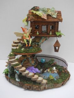 Natural Wood OOAK Two Level Fairy House by FlowersandFrills