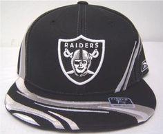 73b3ad104f5 Size 7 1 4 NFL Oakland Raiders Black Flat Bill Fitted Cap with Silver Swirl