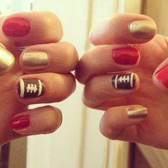 San Francisco 49er Nails/Superbowl Nails  ...little footballs make me so happy