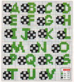 Football alphabet cross stitch chart