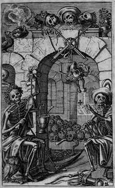 Eberhard Kieser  (Note: Kieser lived in Frankfurt, Germany, from 1609-1630 and worked as a book publisher. The above woodcut is a copy of Hans Holbein's original woodcuts as part of the Dance of Death. Kieser included it in his Icones Mortis Sexagenta Imaginibus referring to the 60 pictures. — Shades and Shadows.)