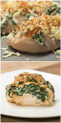 Hasselback Chicken -- Makes two. Here's What You'll Need: Splash of oil Fresh Spinach Ricotta Cheese 2 Chicken Breasts Cheddar Cheese Paprika Salt Pepper I Love Food, Good Food, Yummy Food, Proper Tasty, Great Recipes, Favorite Recipes, Tasty Videos, Cooking Recipes, Healthy Recipes
