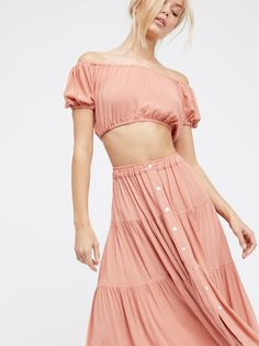 Frida Aasen || FP Christy Dawn Margot Two-Piece Off-The-Shoulder Crop Top & Flowy Tiered Midi Skirt Set (Coral)