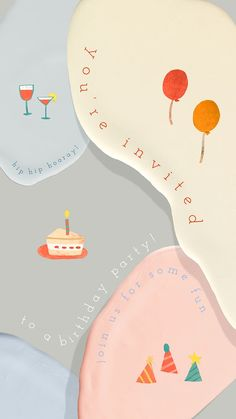 Birthday Invitation Templates, Birthday Party Invitations, Invitation Cards, Birthday Cards, Iphone Notes, 2nd Birthday, Happy Birthday, Birthday Background, Instagram Story Template