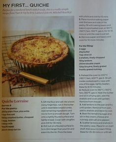 Quiche Recipe. Lunch. Dinner. From The Simple Things Magazine.