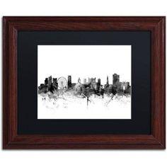 Trademark Fine Art Nottingham England Skyline B Canvas Art by Michael Tompsett, Black Matte, Wood Frame, Size: 11 x 14, Gray