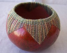 Small red gourd bowl glass beads sewn at rim. by VestedInterest