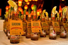 Beer Bottle Escort Cards - Mexican, Beach or BBQ Theme.Not having a seating plan but could use this idea for something else. Mexican Themed Weddings, Mexican Beach Wedding, Wedding Beach, Mexican Wedding Reception, Mexican Wedding Decorations, Mexican Wedding Traditions, Vintage Mexican Wedding, Wedding Mexico, Reception Ideas