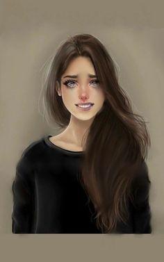 The pain behind my smile Smile Drawing, Sad Drawings, Girly M, Sad Girl Art, Anime Art Girl, Girl Cartoon, Cartoon Art, Sarra Art, Hair Illustration