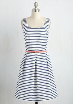 Fair Weather Fan Dress. Feel as beautiful as a sunny day by sporting this fit and flare dress for a promenade through the park. #blue #modcloth