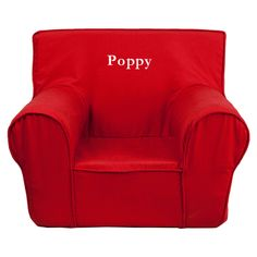 Poppy Red Kids Foam Chair With Personalization Included!