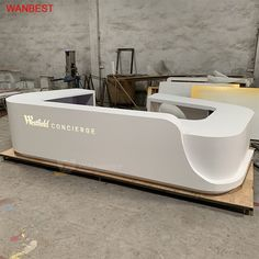 WANBEST is professional manufacturer in producing OEM ODM reception desk. Visit us to view more than 200 designs ! Office Reception Design, Modern Reception Desk, Office Table Design, Dental Office Design, Hotel Reception, Modern Office Design, Office Interior Design, Office Interiors, Modern Offices