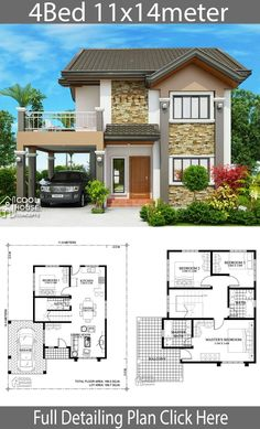 Home design plan with 4 bedrooms - Baustil Double Story House, Two Story House Design, 2 Storey House Design, Two Story House Plans, My House Plans, Bungalow House Design, House Design Photos, House Plans With Photos, Duplex House Plans