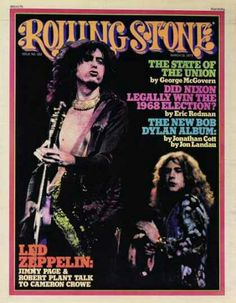 Jimmy Page and Robert Plant of Led Zeppelin on the cover of Rolling Stone Magazine