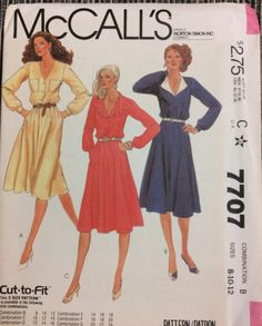 UNCUT Vintage 80's Sewing Pattern McCall's 7707 Misses' Dress Bust 31-34 Size 8-12 Uncut Complete by GoofingOffSewing on Etsy